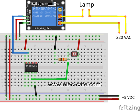 Attiny85 light sensor switch | Elec-Cafe.Com
