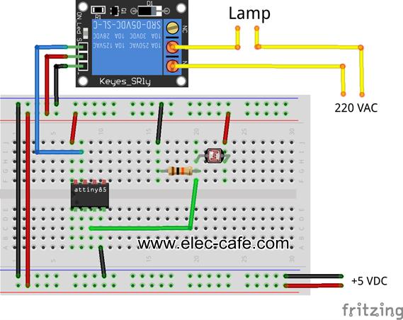 Attiny85 light sensor switch_Elec-Cafe