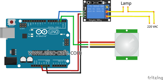 PIR Motion Sensor Switch (Arduino)_Elec-Cafe
