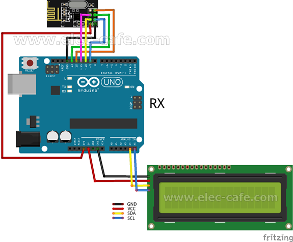 nRF24L01_DHT11_LCD_Arduino_UNO_RX_Elec-Cafe