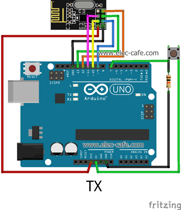nRF24L01_LED_Arduino_UNO_TX_Elec-Cafe
