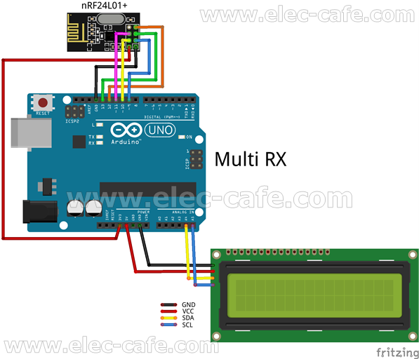 Multiple Nodes nRF24L01+ Wireless Temperature DS18B20 with