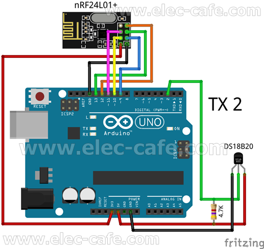 TX2_DS18B20_ArduinoUNO_nRF24L01_Elec-Cafe
