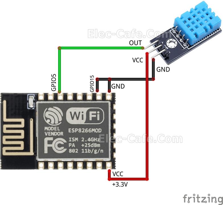 ESP8266 ESP-12E and DHT11 Sensor