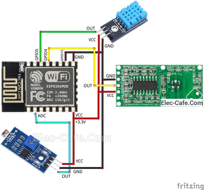 ESP8266 ESP-12E Multi Sensor with Home Assistant (ESPHome)