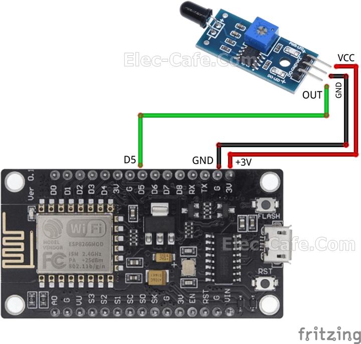 ESP8266 NodeMCU V3 IR Flame Sensor